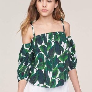 $340 NEW Milly banana leaf silk blouse, size P=8